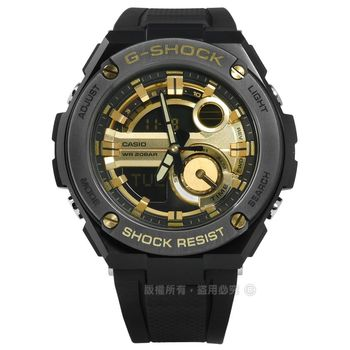 G-SHOCK CASIO / GST-210B-1A9 / 卡西歐極酷衝浪運動雙顯橡膠手錶 黑金色 51mm