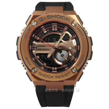 G-SHOCK CASIO / GST-210B-4A / 卡西歐極酷衝浪運動雙顯橡膠手錶 玫瑰金x黑 51mm