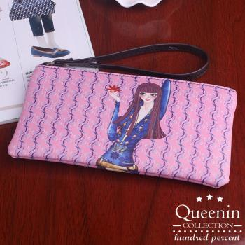 DF Queenin皮夾 - 韓版俏皮少女系拉鍊手拿包-共5色
