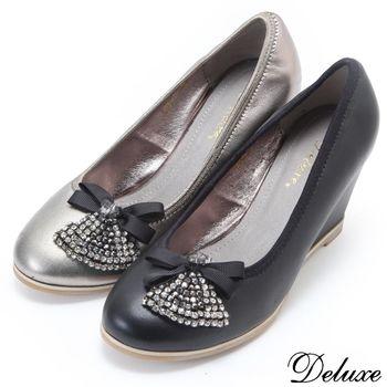 【Deluxe】全真皮可愛蝴蝶結水鑽楔型包鞋(黑☆金)
