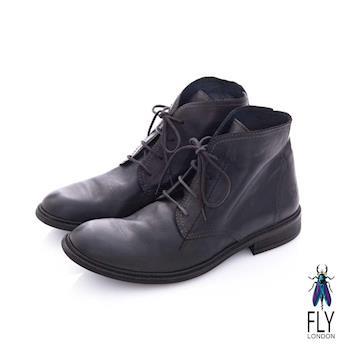 Fly London(男) 偵探密碼 歐式牛皮短筒靴 - 秘密黑