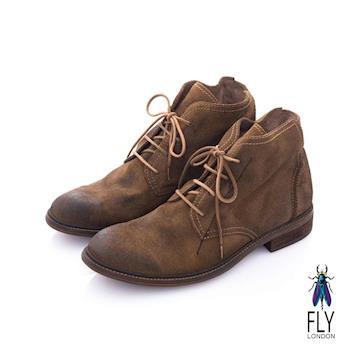 Fly London(男) 偵探密碼 歐式牛皮短筒靴 - 磨砂棕