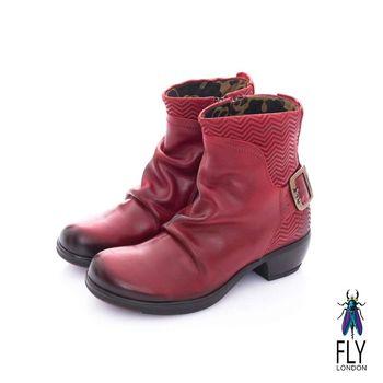Fly London(女) 天然帥 V字波紋復古低跟中筒靴- 火熱紅