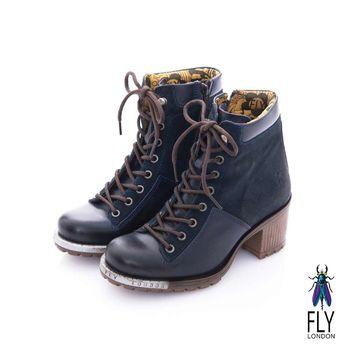 Fly London(女) 長腿姐姐 繁式綁帶低跟牛皮短靴- 鐵片藍