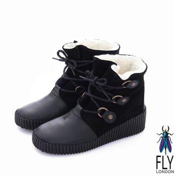 Fly London(女) 黛西寶貝 鋪棉雙料綁帶牛皮中筒靴- 古堡黑