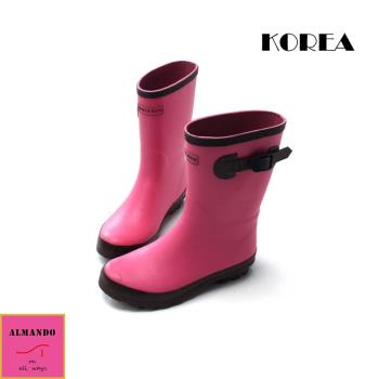 ALMANDO-SHOES ★正韓中筒甜美透氣雨鞋★ 正韓空運 中筒雨靴 粉色