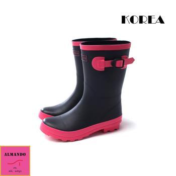 ALMANDO-SHOES ★正韓中筒甜美透氣雨鞋★ 正韓空運 中筒雨靴 黑色