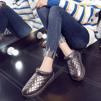 【森之舞】冬季甜心-保暖格紋加絨防水短筒雪靴 (粉色/黑色/可可色) 預+現