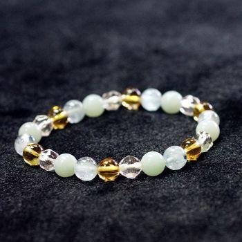 【喨喨飾品】海藍寶/天河石/黃水晶/白水晶能量手鍊 (N276)