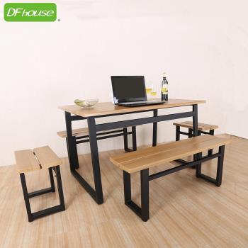 DFhouse 英式工業風-餐桌+2雙人餐椅+2單人餐椅