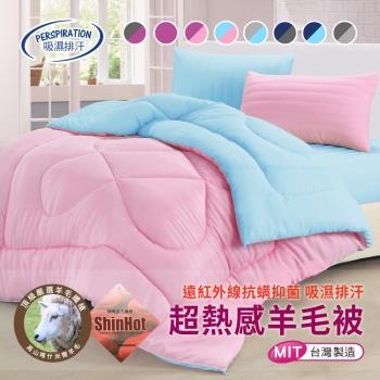 【精靈工廠】3M吸濕排汗專利抗菌奈米銀離子雙色發熱羊毛被2.0KG/(B0712)