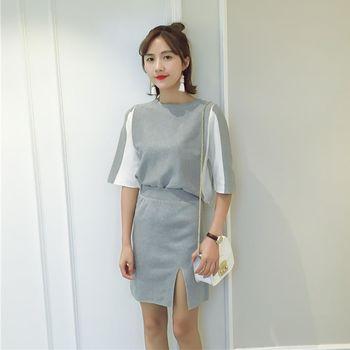 。DearBaby。韓版氣質顯瘦 雙色質感開叉短裙二件式套裝組-共三色(預購)