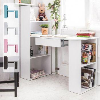 【澄境】低甲醛雙向抽屜書櫃型書桌 -天使白