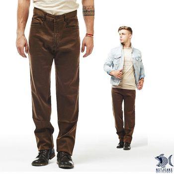 【NST Jeans】386(6880) 摩登Disco幾何咖啡印花 極彈小直筒休閒褲(中低腰窄版)