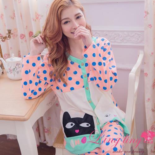 【lingling日系】全尺碼-貓咪貼布圓點哺乳孕婦裝居家長袖二件式睡衣組(活力淺桔)A2927