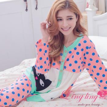 【lingling日系】全尺碼-貓咪貼布圓點哺乳孕婦裝居家長袖二件式睡衣組(俏麗深粉)A2927