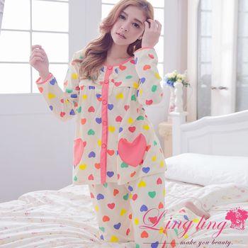 【lingling日系】全尺碼-彩色愛心哺乳孕婦裝居家長袖二件式睡衣組(珊瑚紅)A2926