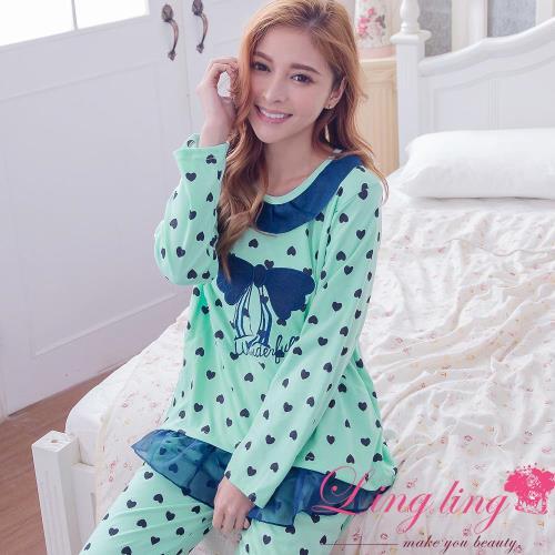 【lingling日系】全尺碼-愛心蝶結滾邊雪紡哺乳孕婦裝居家長袖二件式睡衣組(氣質藍綠)A2917