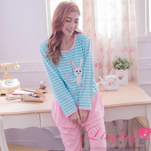 【lingling日系】全尺碼-小兔貼布條紋哺乳孕婦裝居家長袖二件式睡衣組(少女粉)A2916