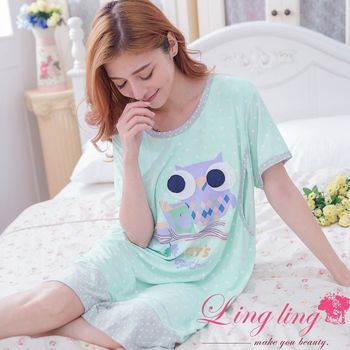 【lingling日系】全尺碼-滿版星星貓頭鷹哺乳孕婦連身裙睡衣(清新藍綠)A2910