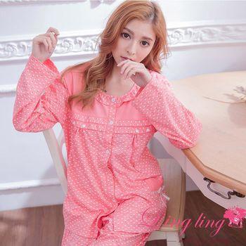 【lingling日系】全尺碼-滿版蘋果哺乳孕婦裝居家長袖二件式睡衣組(甜蜜深粉)A2906