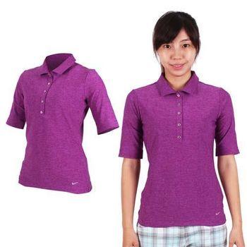【NIKE】GOLF 女快速排汗中袖針織衫- 高爾夫球 短袖T恤 POLO衫 深紫