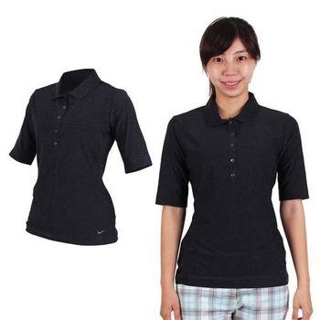 【NIKE】GOLF 女快速排汗中袖針織衫- 高爾夫球 短袖T恤 POLO衫 黑灰