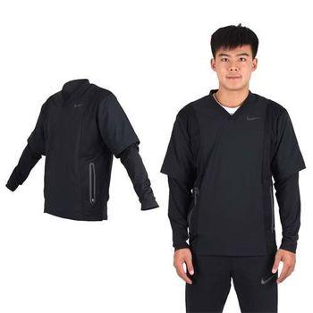 【NIKE】GOLF 男抗水防風系列V領上衣-長袖T恤  高爾夫球 丈青黑