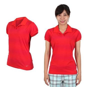 【NIKE】GOLF 女快速排汗條紋短袖POLO針織衫-高爾夫球 珊瑚紅紫