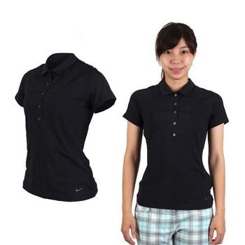 【NIKE】GOLF 女快速排汗短袖針織衫- 高爾夫球 T恤 POLO衫 黑
