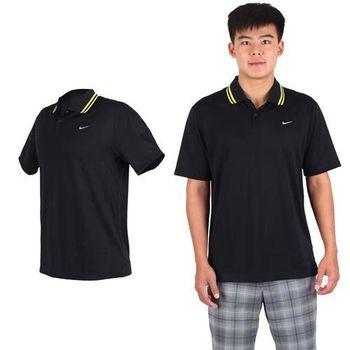 【NIKE】GOLF 男快速排汗針織短袖POLO衫高爾夫球 黑螢光黃