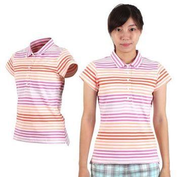 【NIKE】GOLF 女快速排汗條紋POLO針織衫- 短袖 高爾夫球 紫橘白