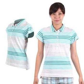 【NIKE】GOLF 女快速排汗條紋POLO針織衫- 短袖 高爾夫球 白藍綠