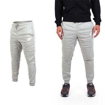 【NIKE】男針織長褲- 慢跑 刷毛 淺灰白