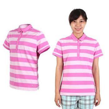 【NIKE】GOLF 女快速排汗粗條紋短袖針織衫-T恤 高爾夫球 POLO衫 粉紫
