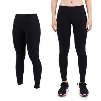 【NIKE】女彈力長褲-緊身長褲  慢跑 路跑 健身 黑銀