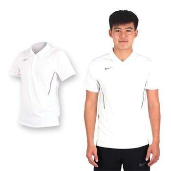 【NIKE】男翻領短袖針織衫-休閒T 短袖T恤 立領 白灰
