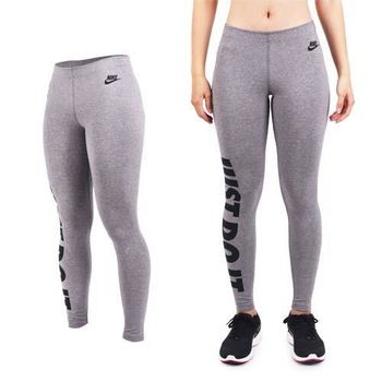 【NIKE】女彈力長褲-緊身長褲 慢跑 路跑 健身 灰黑