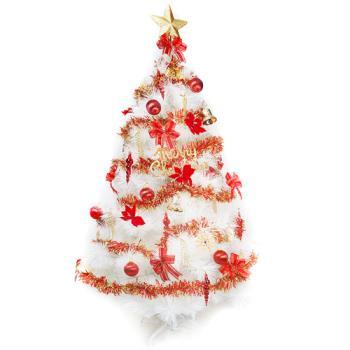 台灣製10呎/10尺 (300cm)特級白色松針葉聖誕樹 (紅金色系配件)(不含燈)