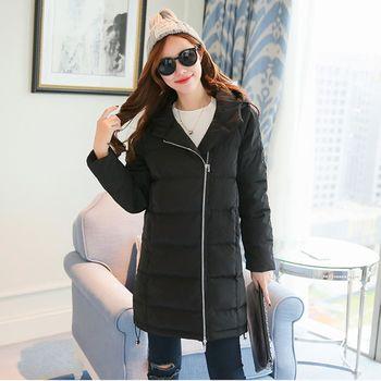 【KVOLL中大尺碼】黑色連帽修身中長款羽絨外套(XL~5XL)
