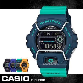 【CASIO 卡西歐 G-SHOCK 系列】復古風格_雙色錶帶_耐衝擊構造_抗低溫裝置_防水_LED照明(GLS-6900)