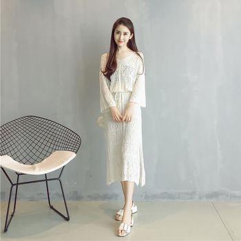 。DearBaby。韓版波西米亞風 收腰側開叉浪漫針織長版洋裝-共二色(預購)