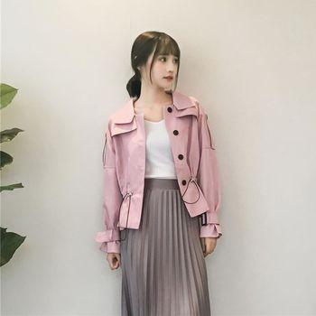 。DearBaby。韓版甜美個性風 拉繩繫腰造型外套-共二色(預購)