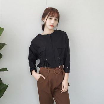 。DearBaby。韓版個性風 仿軍裝收腰短版拉鍊外套-共二色(預購)