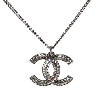 CHANEL 香奈兒經典雙C LOGO水鑽鑲嵌墜飾項鍊(黑銀)