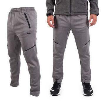 【KAPPA】男針織長褲-保暖 刷毛 運動 休閒 慢跑 路跑 灰黑藍