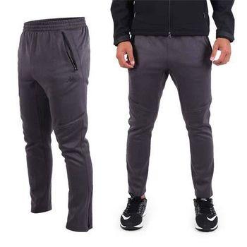 【KAPPA】男針織長褲-保暖 刷毛 運動 休閒 慢跑 路跑 黑銀藍