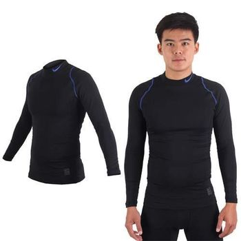 【NIKE】男長袖針織衫-保暖 刷毛 運動 休閒 慢跑 路跑 T恤 黑藍