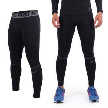 【NIKE】男彈力長褲-緊身長褲 緊身褲 慢跑 路跑 運動 休閒 黑