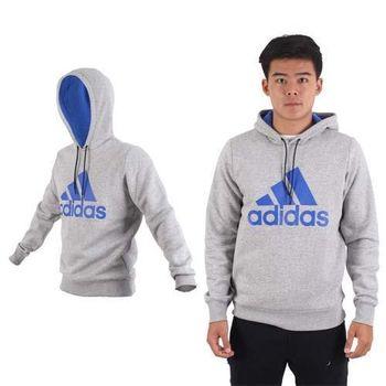 【ADIDAS】男款連帽上衣-保暖 刷毛 長T T恤 路跑 休閒 愛迪達 灰藍